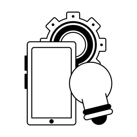 knowledge education idea concept elements cartoon vector illustration graphic design in black and white Ilustrace