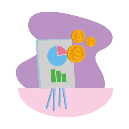 Office elements and business symbols graphs on whiteboard and coins ,vector illustration graphic design. Illustration