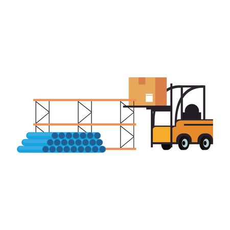 Forklift loading box and shelf with pvc pipes vector illustration Foto de archivo - 133850494