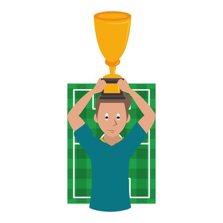 Soccer player holding trophy cup on playfield cartoon vector illustration graphic design Ilustrace