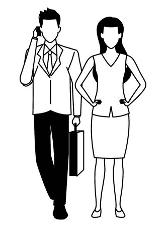 Two business partners working, executive entrepreneur teamwork ,vector illustration graphic design. Stock Vector - 133850500