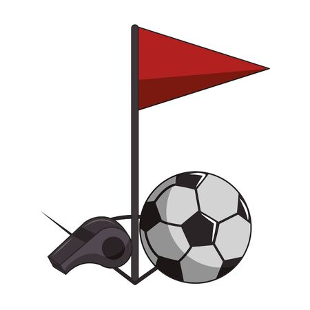 Soccer sport game referee whistle and ball with red flag isolated vector illustration graphic design