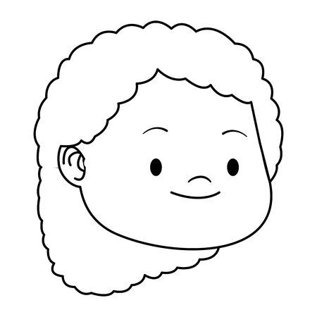 cartoon girl face with curly hair over white background, vector illustration Illustration