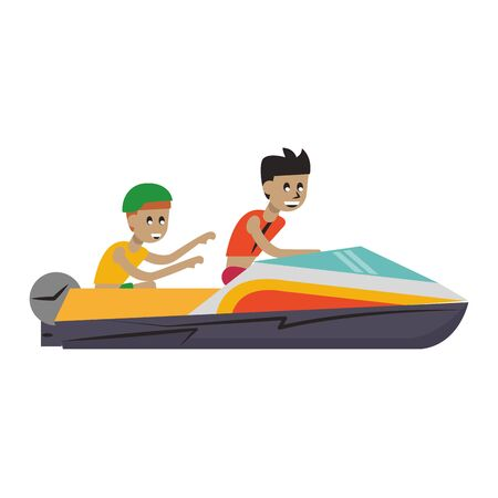two men riding racing boat extreme sport cartoons vector illustration graphic design