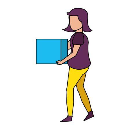 Corps de jeune femme sans visage portant un chemisier violet et tenant un cube cartoon vector illustration graphic design Vecteurs