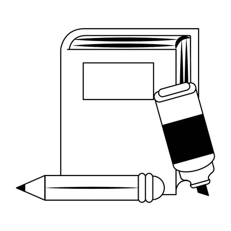 Academic book with highlighter pen and pencil over white background, vector illustration Ilustracja