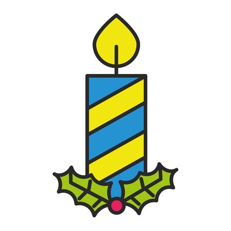 merry christmas candles isolated icon vector illustration design