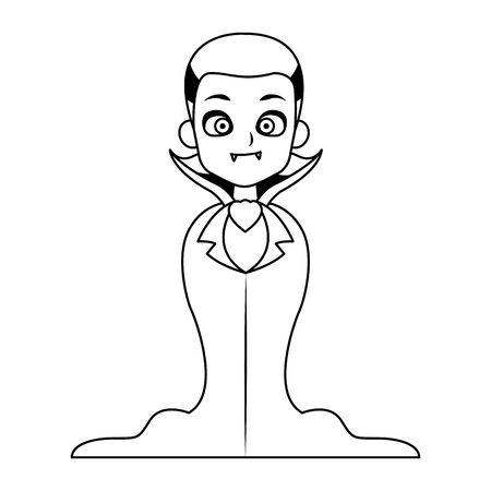 lottle boy with dracula disguise character vector illustration design Illusztráció