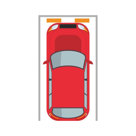 car in parking spot over white background, vector illustration
