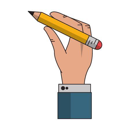 Businessman hand holding pencil cartoon vector illustration graphic design