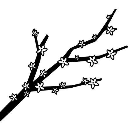 autumn tree branch with flowers cartoon ,vector illustration graphic design. Stock Illustratie