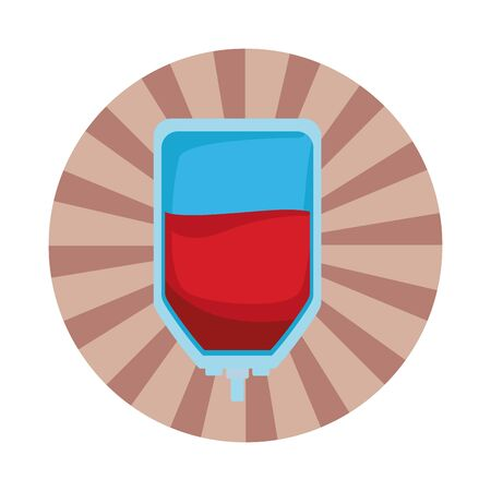 blood donation bag icon cartoon in round icon with pop art background Иллюстрация