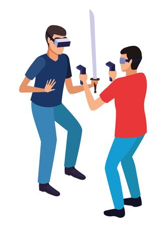 virtual reality technology, young men friends living a modern digital experience with headset glassesand joysticks with sword cartoon vector illustration graphic design Stok Fotoğraf - 133850800