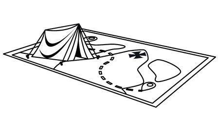Camping tent on adventure map ,vector illustration graphic design. Stok Fotoğraf - 133850809