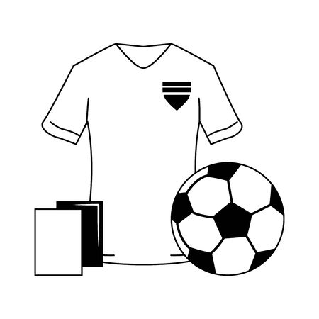Soccer sport game tshirt referee cards and ball isolated vector illustration graphic design