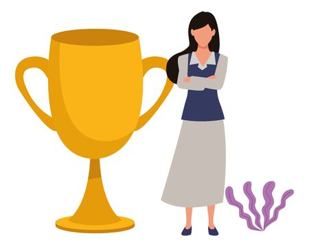 Executive businesswoman with big trophy cup ,vector illustration graphic design.
