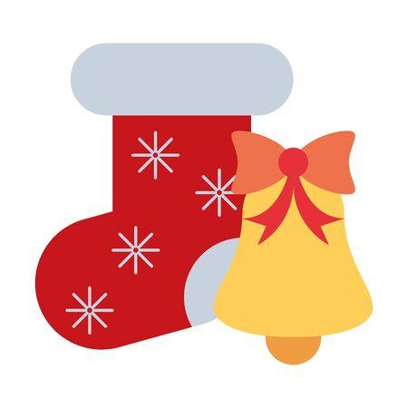 merry christmas bell and sock decoration icon vector illustration design Illusztráció