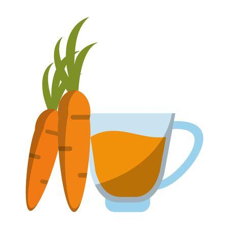 healthy drink juice carrot nature glass cartoon vector illustration graphic design Stock fotó - 133850901