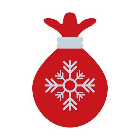merry christmas santa claus bag with snowflake vector illustration design