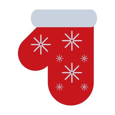 merry christmas glove decoration icon vector illustration design Illusztráció