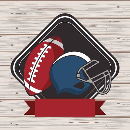 american football sport helmet and balloon vector illustration design
