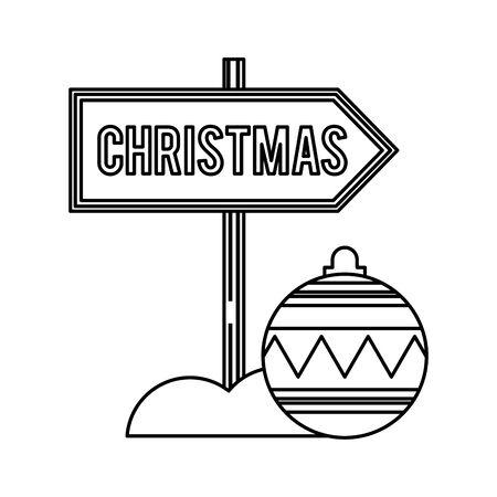 merry christmas ball hanging decoration vector illustration design