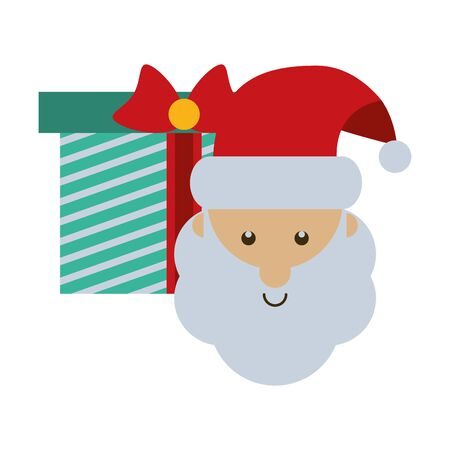 merry christmas gift with santa claus vector illustration design