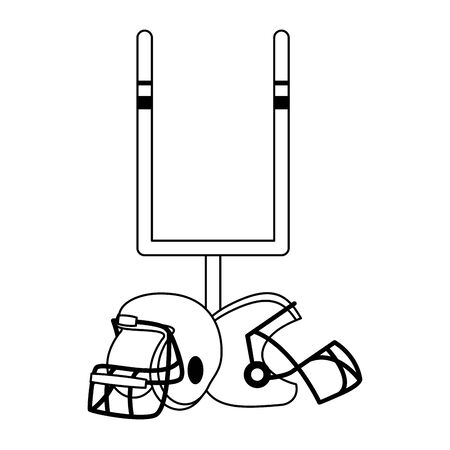 american football sport game goal post with helmets cartoon vector illustration graphic design