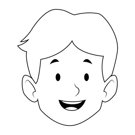 cartoon boy smiling icon over white background, black and white design. vector illustration Stock Vector - 133851043