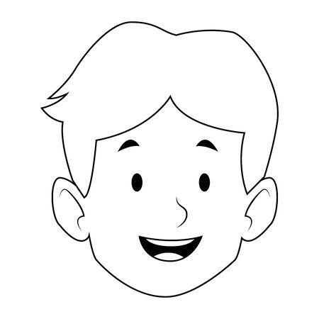 cartoon boy smiling icon over white background, black and white design. vector illustration