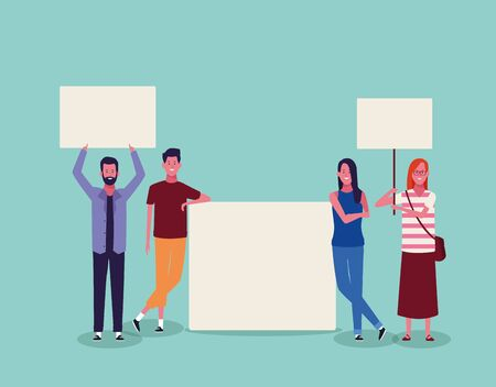 cartoon young people protesting with blank placards over turquoise background, colorful design. vector illustration