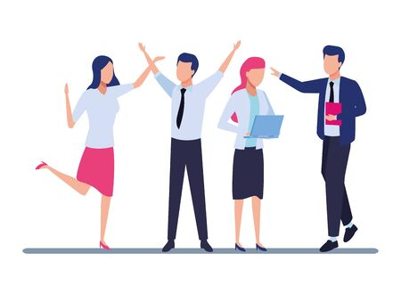 Four business partners working with office supplies colorful isolated faceless avatar vector illustration graphic design Vektorové ilustrace