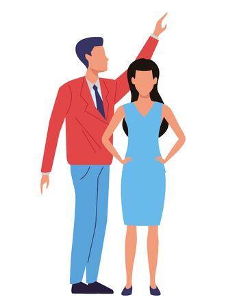 Two business partners working, executive entrepreneur teamwork ,vector illustration graphic design. Stock Vector - 133851107