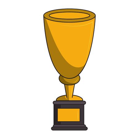 Sport trophy cup first place gold symbol vector illustration graphic design