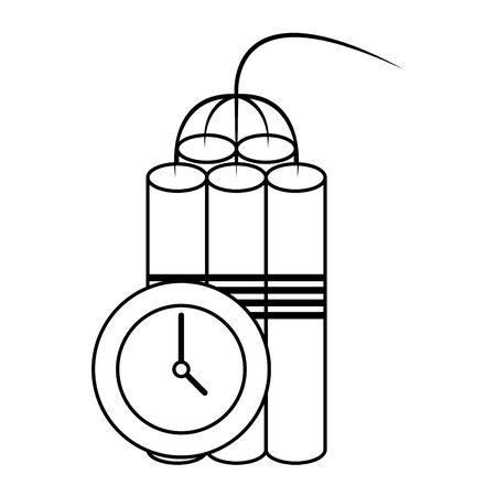 Tnt detonator with timer symbol isolated vector illustration graphic design Ilustrace