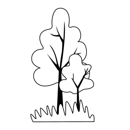 dry trees icon over white background, vector illustration