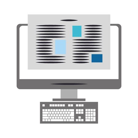 computer with document on screen over white background, vector illustration Illustration