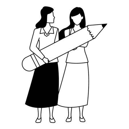 Two business partners working, executive entrepreneur teamwork ,vector illustration graphic design.