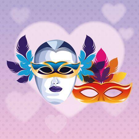 masks with feathers icon cartoon heart background vector illustration graphic design Illusztráció