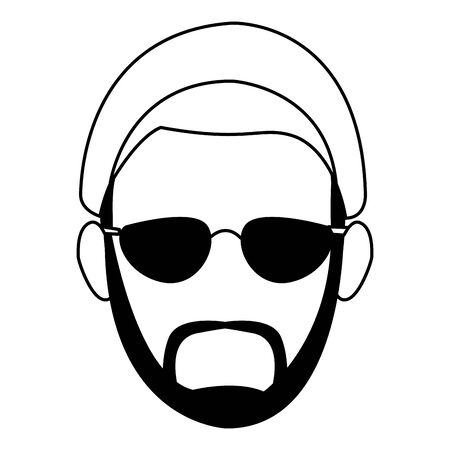cartoon hipster man with sunglasses and beard over white background, vector illustration