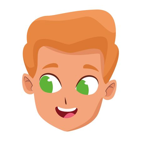 adorable cute young boy face blondie hair with green eyes happy childhood cartoon vector illustration graphic design Ilustração
