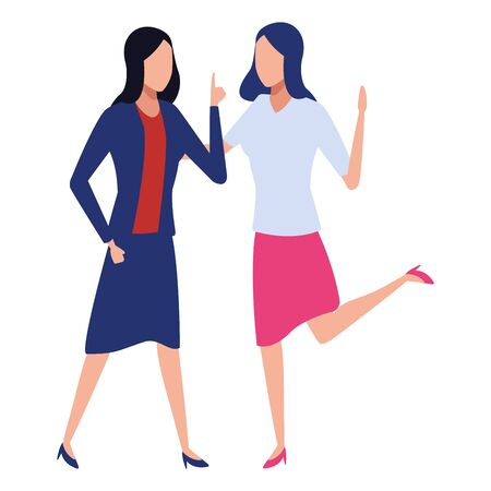 Happy Businesswomen with arms up colorful isolated faceless avatar vector illustration graphic design