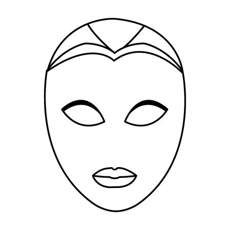 carnival mask face icon over white background, black and white design. vector illustration