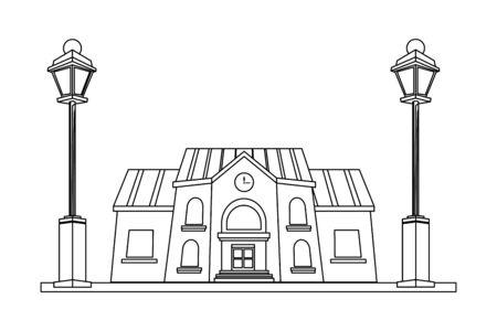 School building front street scenery vector illustration graphic design Illusztráció