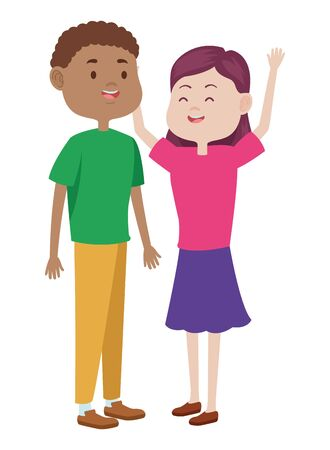 Teenagers friends boy and girl with casual clothes smiling and greeting cartoons ,vector illustration graphic design. Banque d'images - 133853431