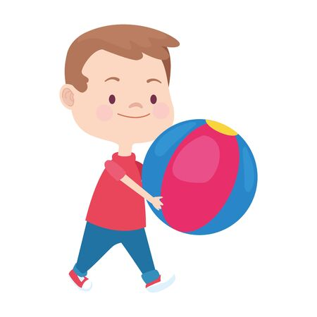 cartoon little boy playing with a ball over white background, vector illustration Illustration