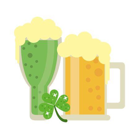 saint patricks day irish tradition clover with beer glasses cartoon vector illustration graphic design