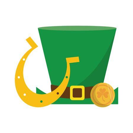 saint patricks day irish tradition leprechaun hat with golden coins and horsehoe cartoon vector illustration graphic design