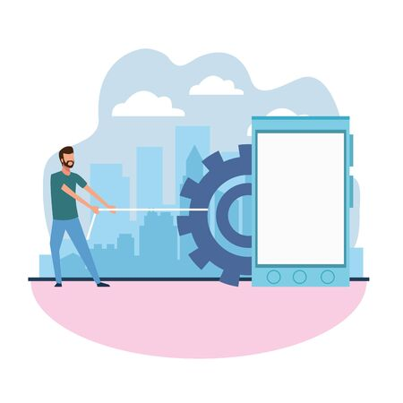 man pulling a gear wheel and smartphone device over white background, colorful design , vector illustration Ilustrace