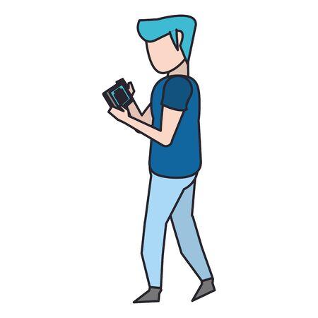 avatar man using a tablet over white background, vector illustration Illustration